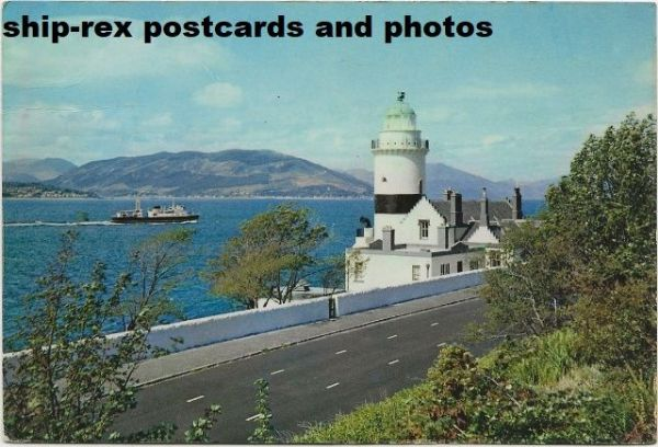 Cloch Lighthouse & Caledonian SP Ferry, postcard (b)